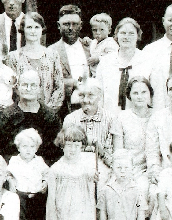 Perhaps the longest-lived participant in the Free State of Jones, Alzade is middle person of middle row, 1926