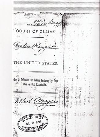 cover page of Newt Knight's final petition to Congress, 1894