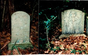 Separate photos of Newt and Rachel's graves, Newt Knight Cemetery