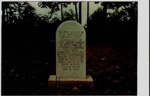 Mass gravestone of Knight kinfolk executed by Col. Robert Lowry, Jackie Knight cemetery