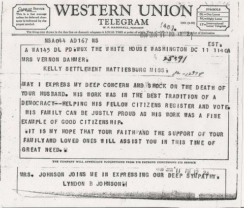 Vernon Dahmer, Western Union Telegram