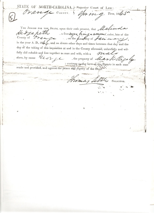In the following court document from antebellum North Carolina, a free woman of color is charged with illegally trying to marry a slave.