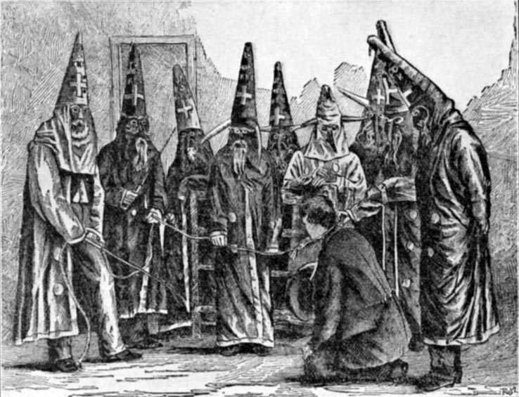 KKK costumes in N.C., 1870. Engraving by US Marshall JG Hester. NY Public Library.