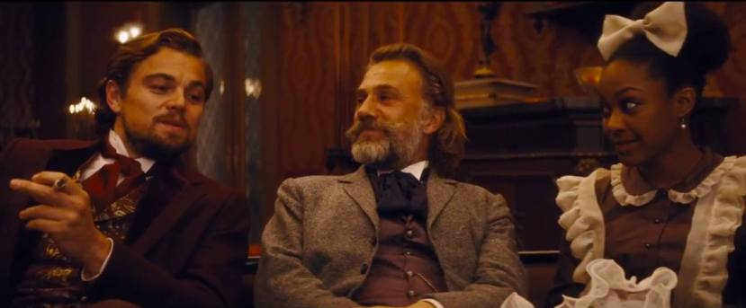 Leonardo DiCaprio, Christoph Waltz, and Daniele Watts, scene from Django Unchained
