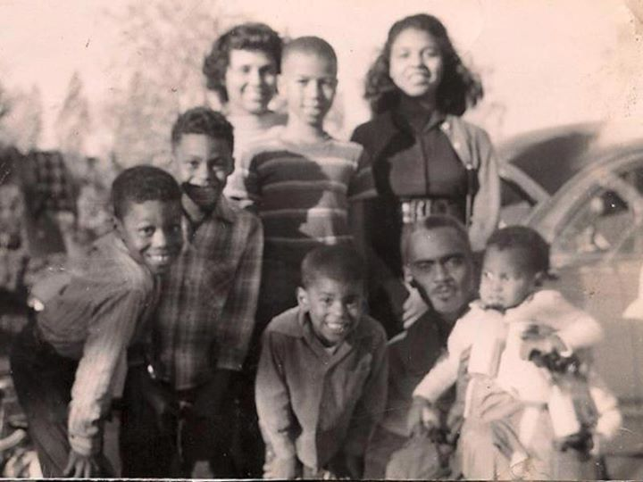 Family of Augusta Ann Knight Watts, daughter of Newt Knight and Rachel Knight. At bottom right is Curtis Watts, grandfather of Daniele Watts, holding Daniele's father, Marvin Watts.