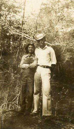 Mac Coats with future wife, Laura Hill, at Lake Walkaway, Soso, MS. circa 1937-38.