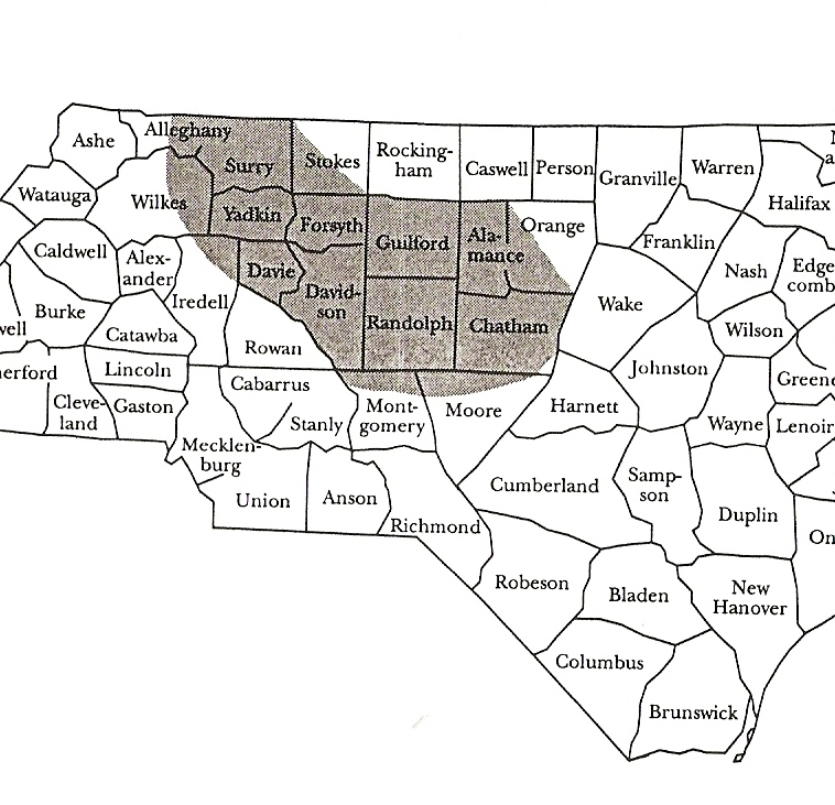 Shaded area, including upper Moore County, NC, was a principle area of Unionist activity.