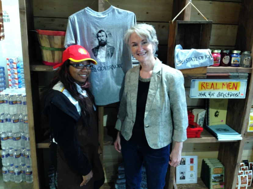 At the Anderson-Deason store in Ellisville, with store clerk and Knight descendant Terrica Knight-Hatton.