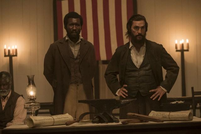 Mahershala Ali and Matthew McConaughey, scene from movie, The Free State of Jones.