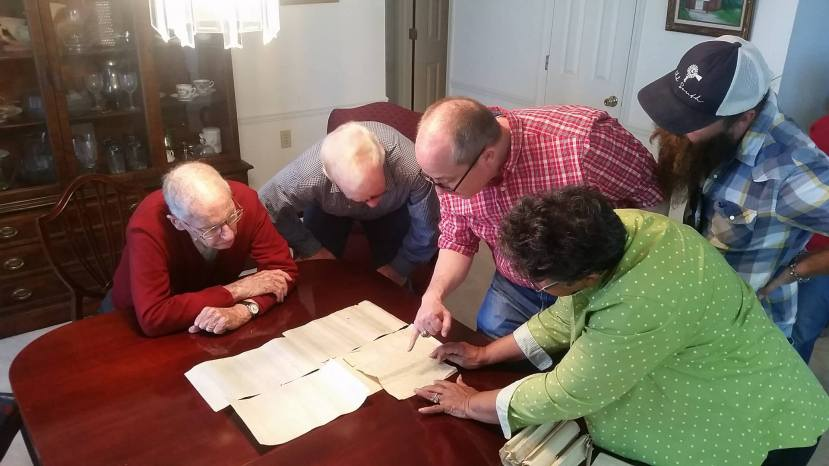 Studying the original Newt Knight roster! Gov. Wm. Winter, Andy Mullins, Brother Rogers, Dorothy Knight Marsh, Kyle Baughman.