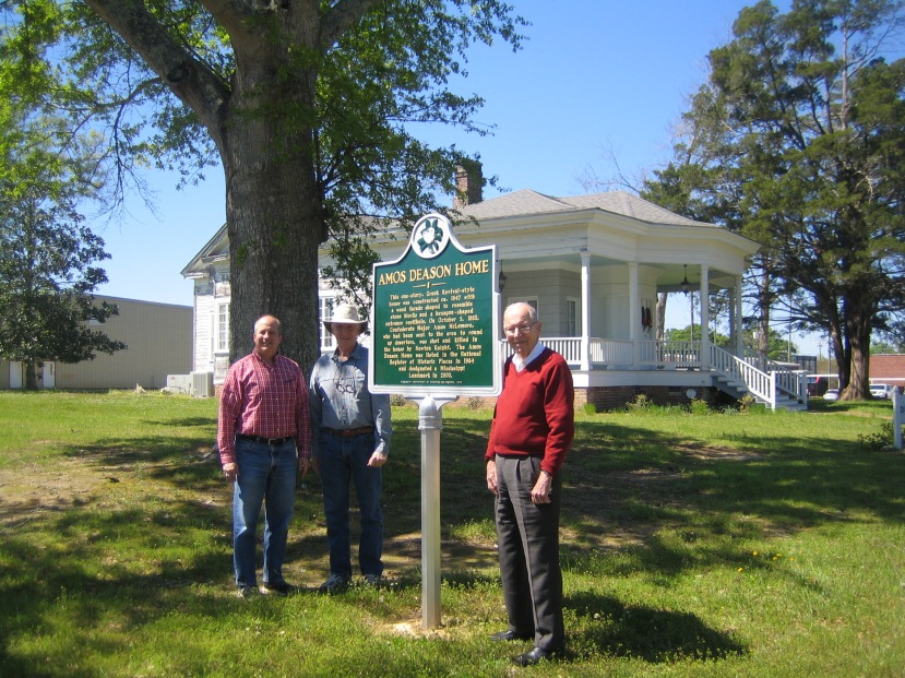 Brother Rogers, Andy Mullins, Gov. Wm Winter at Amos Deason Home, Ellisville, MS. Photo courtesy of Brother Rogers