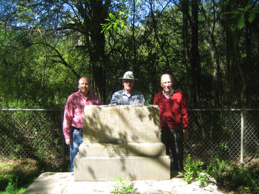 Brother Rogers, Andy Mullins, Gov. Wm. Winter, Gravesite of Jasper and Gatsy Collins, Union, MS. Photo courtesy of Brother Rogers.