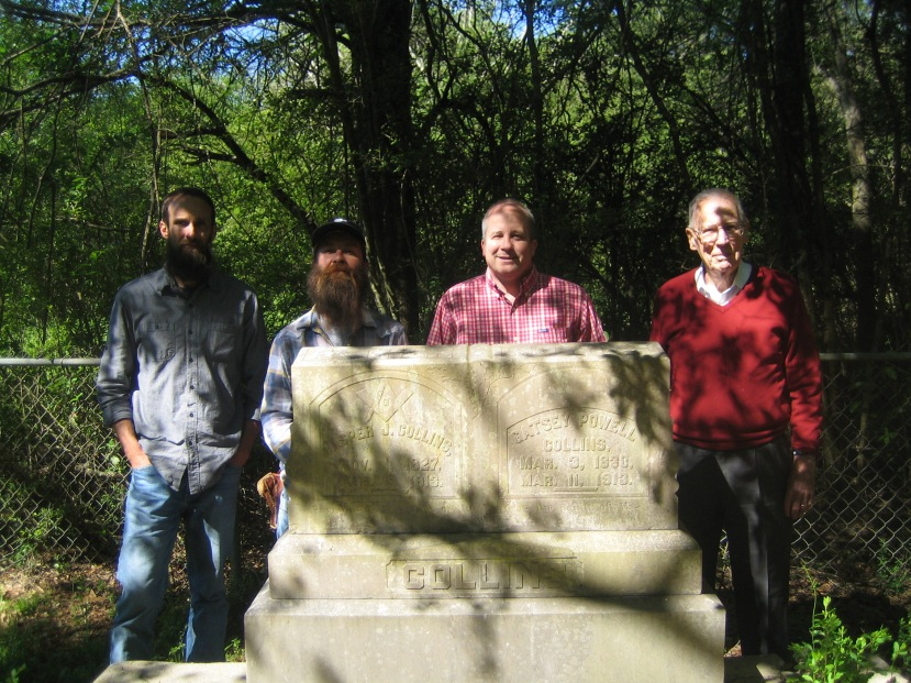 Joseph Hosey, Kyle Baughman, Gov. Wim. Winter, gravesite of Jasper and Gatsy Powell Collins. Union, MS. Photo courtesy of Brother Rogers.