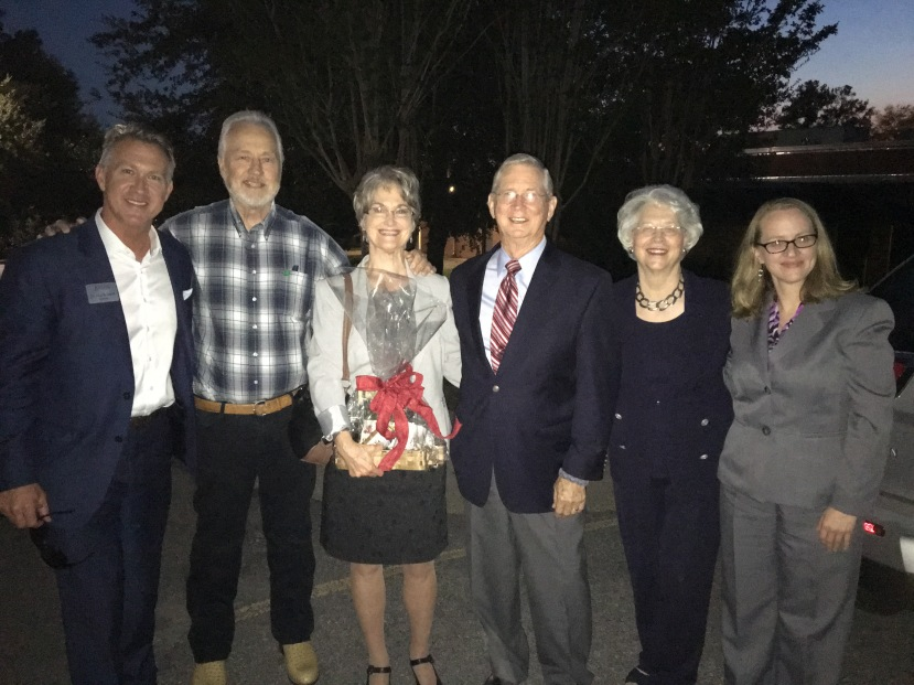 End of Evening: JCJC Prez. Jesse Smith, Gregg Andrews, Vikki Bynum, Honorable Charles and Mrs, Pickering, Honors Director Julie Atwood, Ellisville, MS, 9-14-16